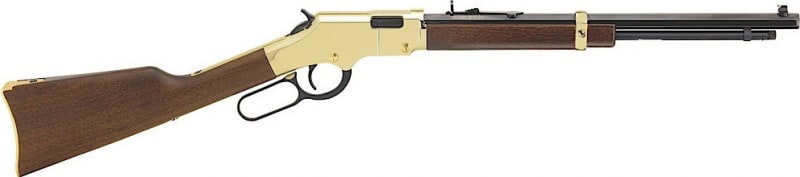 "Henry H004Y Golden Boy Youth Lever 22 Short/Long/Long Rifle 16.25"" 12LR/17L/18Short American Walnut Stock Blued Barrel/Brass Receiver"