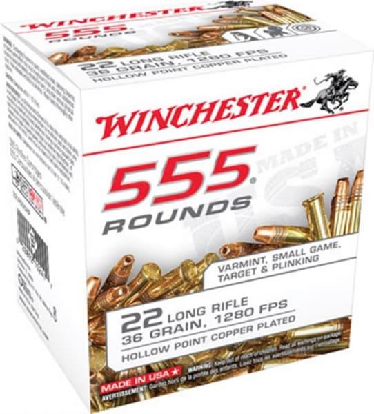 Winchester 22LR555HP Rimfire 22 LR 35 GR Copper Plated HP 1280 fps Ammo - 555rd Box