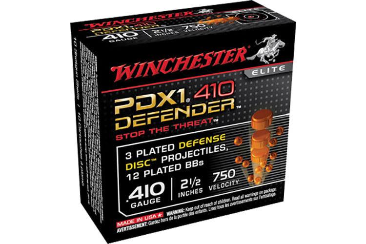 """Winchester Ammo S410PDX1 Elite 410GA 2.5"""" 3 Defense Discs/12 BBs Shot - 10sh Box"""