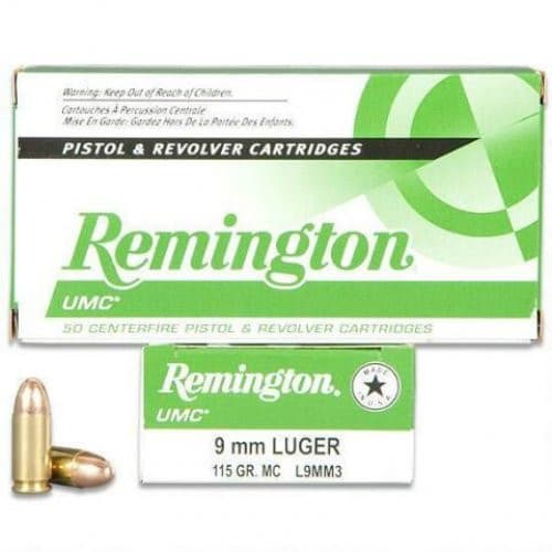 Remington UMC 9mm 115gr FMJ L9MM3 - 500rd Case