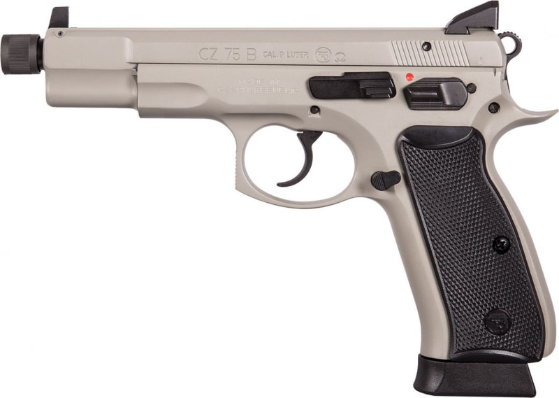 "CZ 91235 CZ 75 Omega Urban Grey Suppressor Ready DA/SA 9mm 5.2"" TB 18+1 Black Polymer Grips Urban Gray Frame/Slide"
