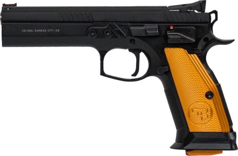 "CZ 91260 CZ 75 Tactical Sport Single 40 S&W 5.4"" 17+1 Orange Aluminum Grip Black"