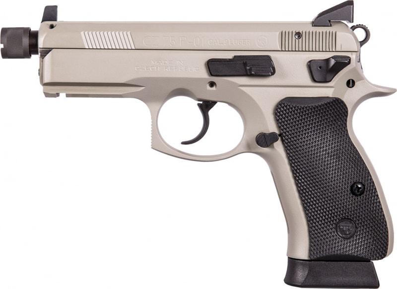 "CZ 91299 P-01 Omega Grey DA/SA 9mm 4.4"" TB 14+1 NS Black Rubber Grip Gray"