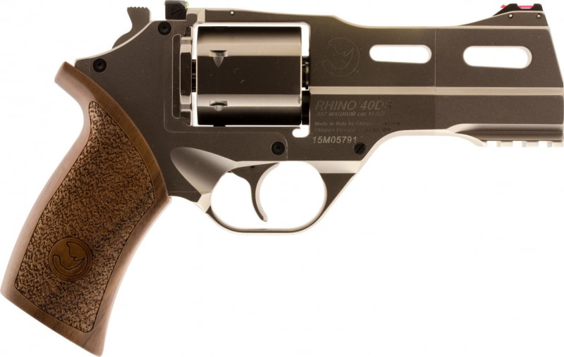 "Chiappa 340245 Rhino 40SAR *CA Compliant* Single 357 Magnum 4"" 6rd Walnut Chrome Stainless Steel"
