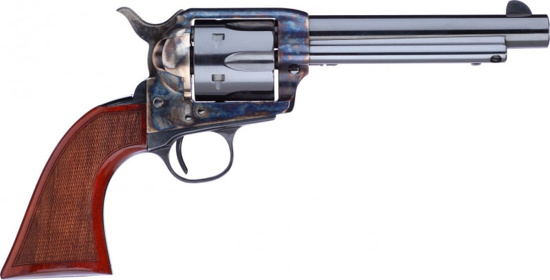 "Taylors and Company 556209DE Short Stroke Gunfighter Army Grip Single 357 Magnum 5.5"" 6rd Walnut Army Sized Blued"