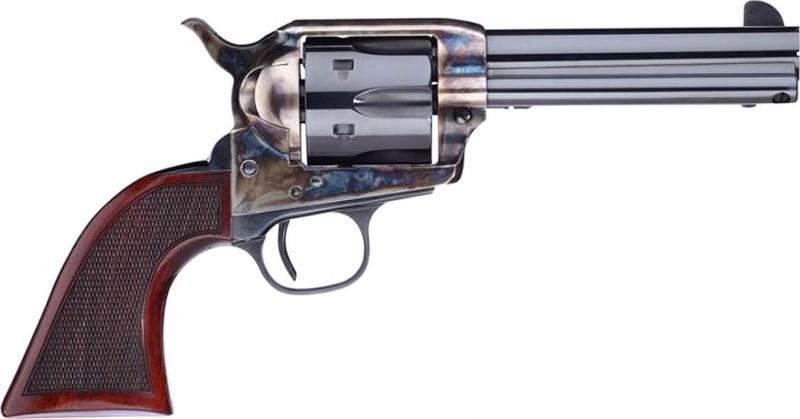 "Taylors and Company 556204DE Short Stroke Smoke Wagon Navy Grip Single 357 Magnum 4.75"" 6 Walnut Navy Sized Blued"