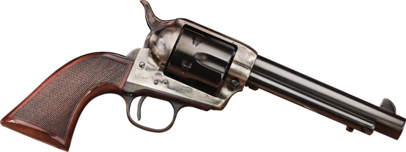"Taylors and Company 556205DE Short Stroke Smoke Wagon Navy Grip Double 357 Magnum 5.5"" 6rd Walnut Blued"
