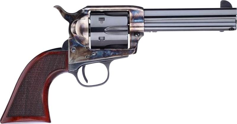 "Taylors and Company 556201DE Short Stroke Smoke Wagon Navy Grip Single 45 Colt (LC) 4.75"" 6rd Walnut Blued"