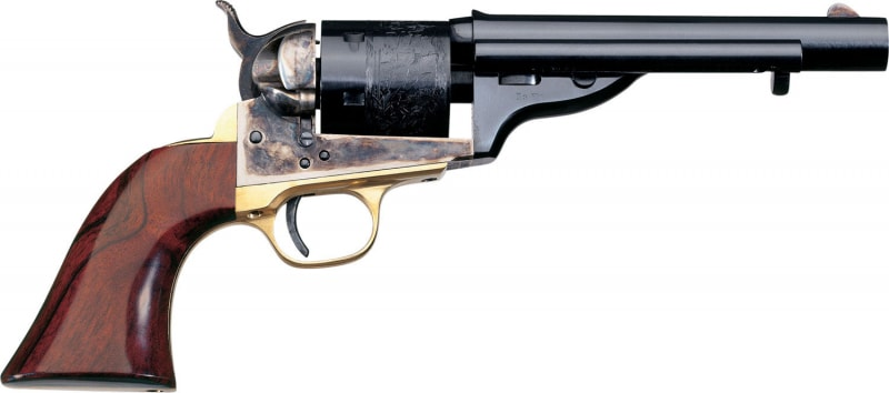 "Taylors and Company 0917 1872 Open-Top Single 45 Colt (LC) 5.5"" 6rd Walnut Navy Sized Grips Blued"