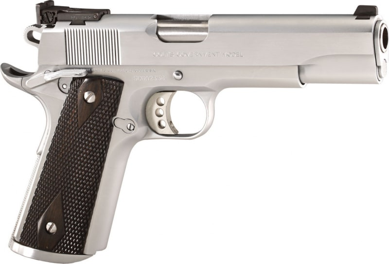"Colt O1970CM 1911 Special Combat Government Single 45 ACP 5"" 8+1 Black/Silver Composite Grip Chromed"