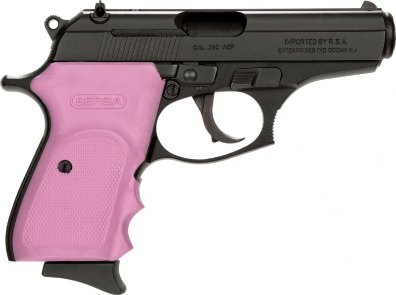 "Bersa T380M8P Thunder 380 Standard Double 380 ACP 3.5"" 8+1 Pink Rubber Grip Black Stainless Steel"