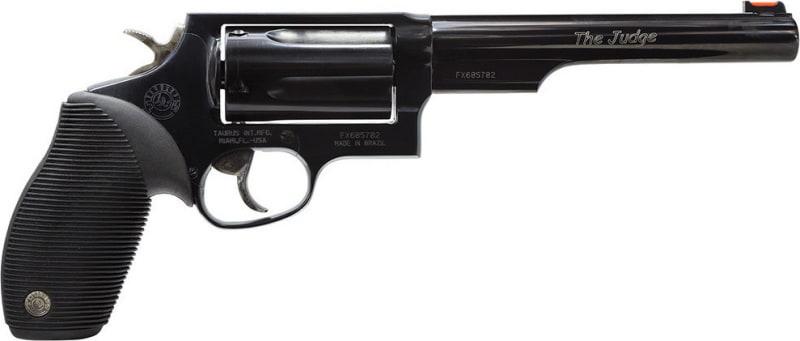 "Taurus 2441061T Judge 45/410 DA/SA 45 Colt (LC)/410 6.5"" 5 Black Ribber Blued"