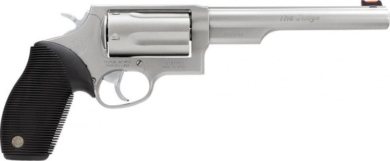 "Taurus 2441069T Judge DA/SA 45 Colt (LC)/410 6.5"" 5 Black Ribber Grip Stainless"