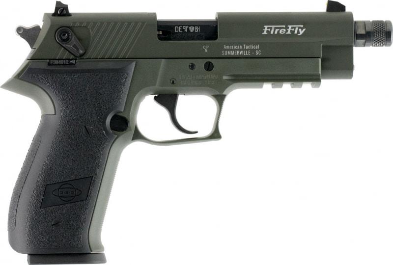 "GSG German Sports Guns GERG2210TFFG FireFly DA/SA 22 LR 4.9"" TB 10+1 Black Polymer Grip Green Frame/Slide"
