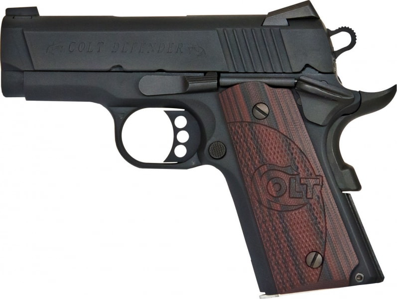 "Colt O7800XE 1911 Defender Single 45 ACP 3"" 7+1 Black Cherry G10 Grip Blued Carbon Steel"
