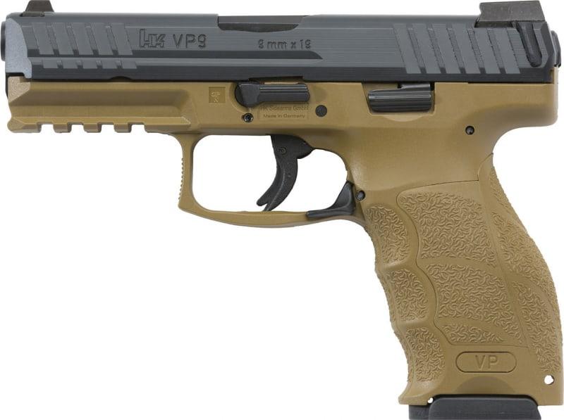 "HK 700009FDELELA5 VP9 Double 9mm Luger 4.09"" 10+1 3 Mags NS Flat Dark Earth Interchangeable Backstrap Grip Black"