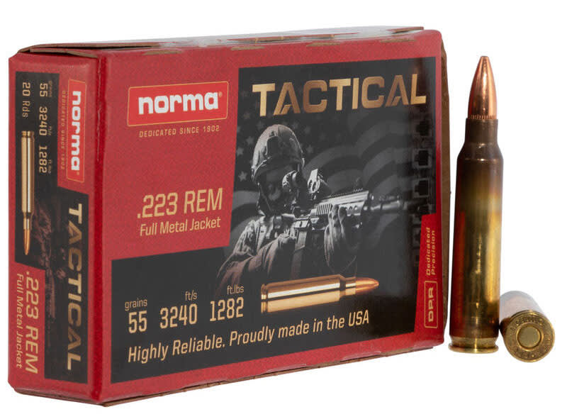 Norma Tactical 295040020 .223 Rem 55 GR, FMJ, Brass Case, Re-Loadable, Premium Grade - 500rd Case