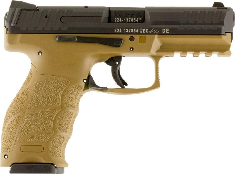 """HK 700009FDEA5 VP9 Double 9mm Luger 4.09"""" 10+1 2 Mags Flat Dark Earth Interchangeable Backstrap Grip Black"""