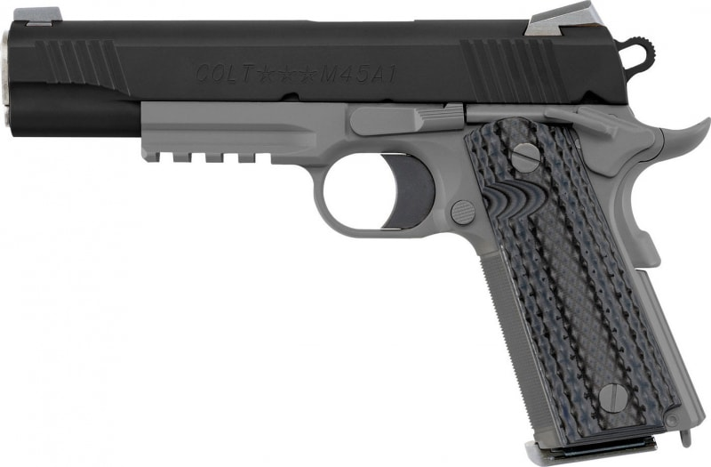 "Colt O1070CQB 1911 Single 45 ACP 5"" 8+1 Black/Gray G10 Grip Black Cerakote"