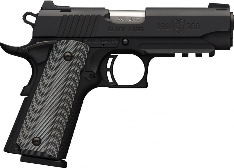 "Browning 051911492 1911-380 Black Label Pro Single 380 ACP 3.62"" 8+1 Black/Gray G10 Grip Black Stainless Steel"