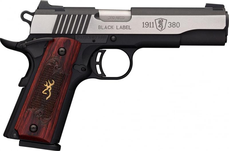 "Browning 051914492 1911-380 Single 380 ACP 4.25"" 8+1 Black/Gray G10 Grip Black Stainless Steel"
