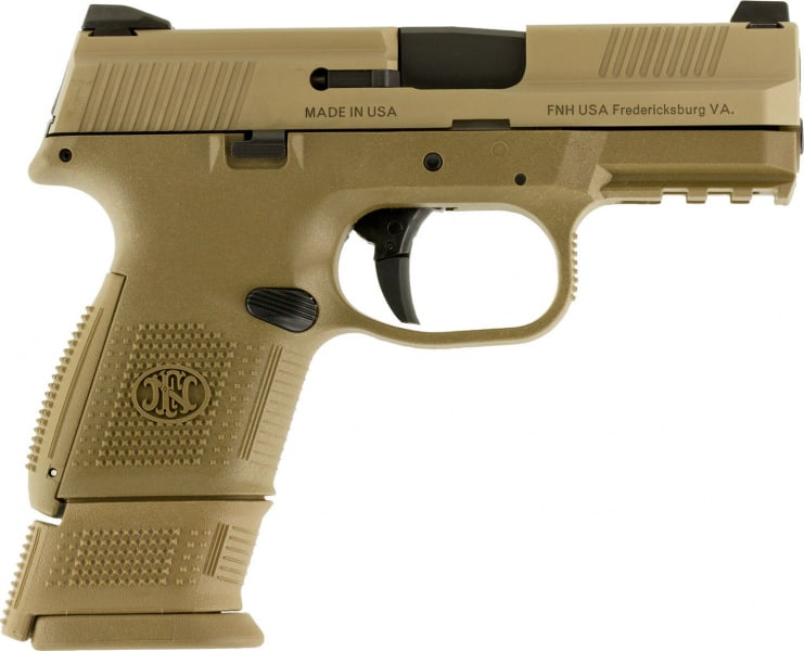 "FN 67993 FNS Double 9mm 3.6"" 12+1/17+1 FDE Interchangeable Backstrap Grip Flat Dark Earth Stainless Steel"