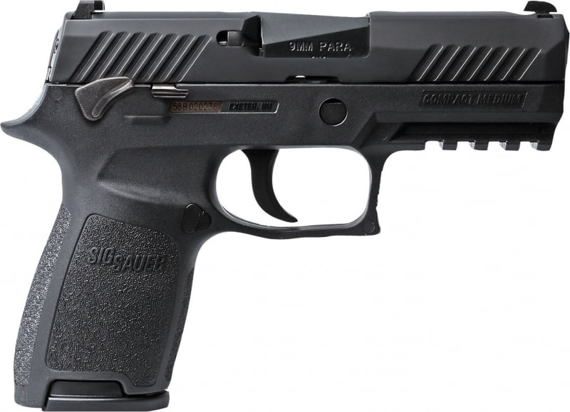 "Sig Sauer 320C9BSSMS P320 Compact Double 9mm Luger 3.9"" 15+1 NS MS Black Polymer Grip/Grame Black Nitron"