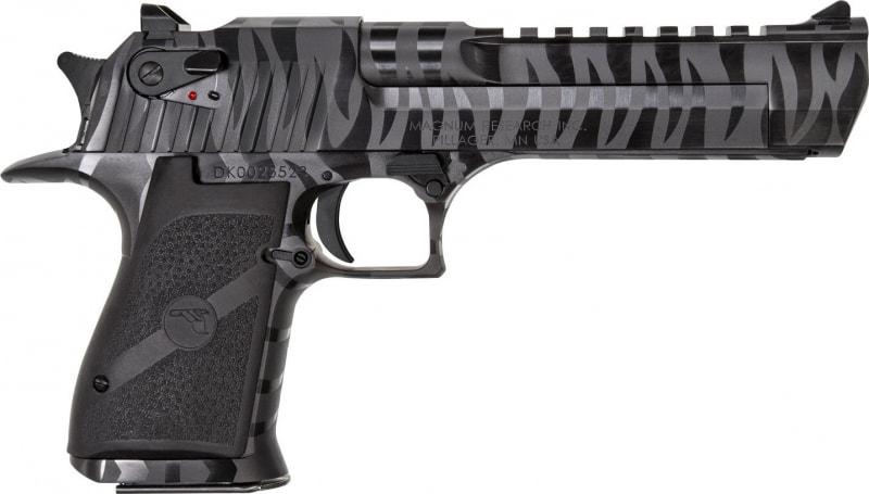 """Magnum Research DE50BTS Desert Eagle Single 50 Action Express (AE) 6"""" 7+1 Black Polymer Grip Black/Tiger Stripe"""