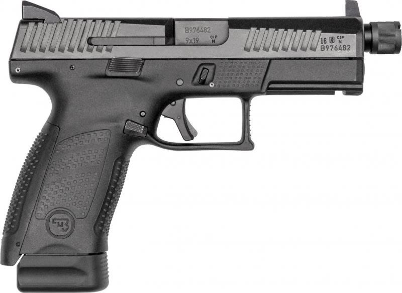 """CZ 01523 P-10 DA/SA 9mm 4.6"""" 10+1 Black Interchangeable Backstrap Grip Black"""