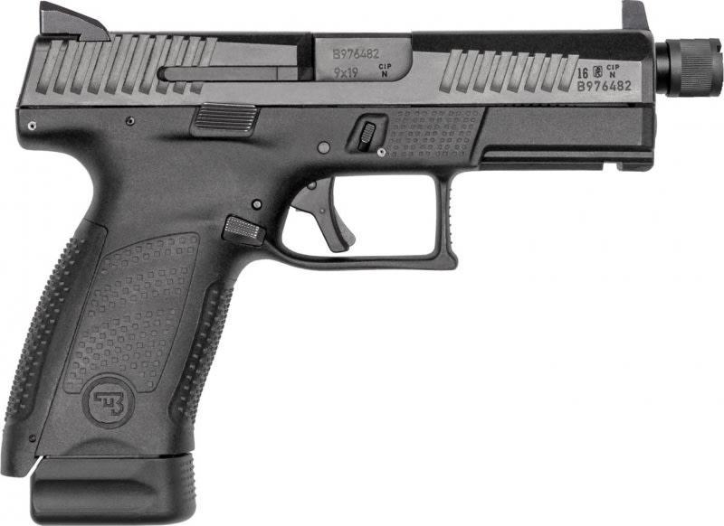 """CZ 91523 P-10 DA/SA 9mm 4.6"""" 17+1 Black Interchangeable Backstrap Grip Black Nitride"""