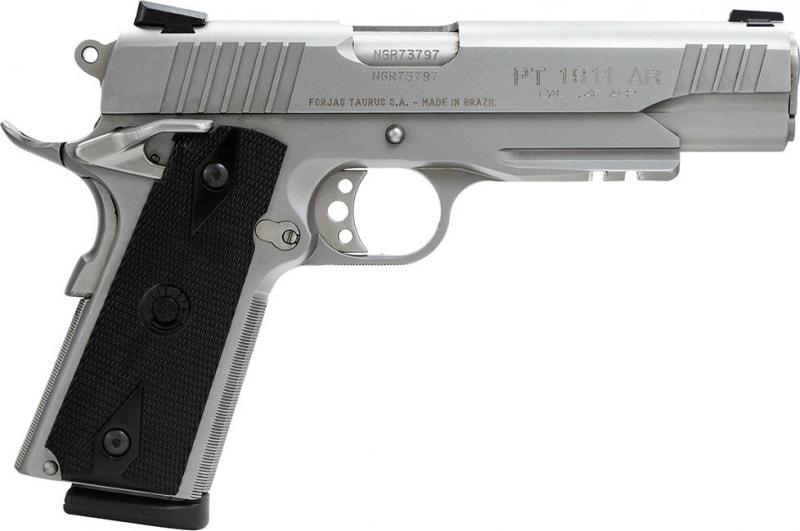 """Taurus 1191109SS1 1911 Standard 45 ACP 5"""" 8+1 w/Lt Rail Heinie Sight Black Grip SS"""
