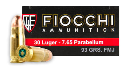 Fiocchi .30 Luger 93gr Full Metal Jacket (FMJ) Ammo - 50rd Box