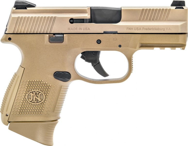"FN 66100113 FNS Double 9mm Luger 3.6"" 10+1 FDE Interchangeable Backstrap Grip Flat Dark Earth Stainless Steel"