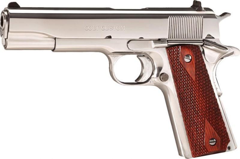 """Colt O2071ELC2 1991 Govt 38 Super 5"""" 9+1 Rosewood Grip Bright SS"""