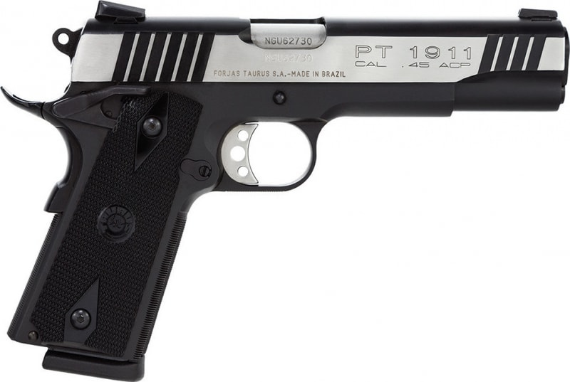 "Taurus 1191101DT 1911 Standard 45 ACP 5"" 8+1 w/Heinie Sight Black Grip 2Tone Slide"