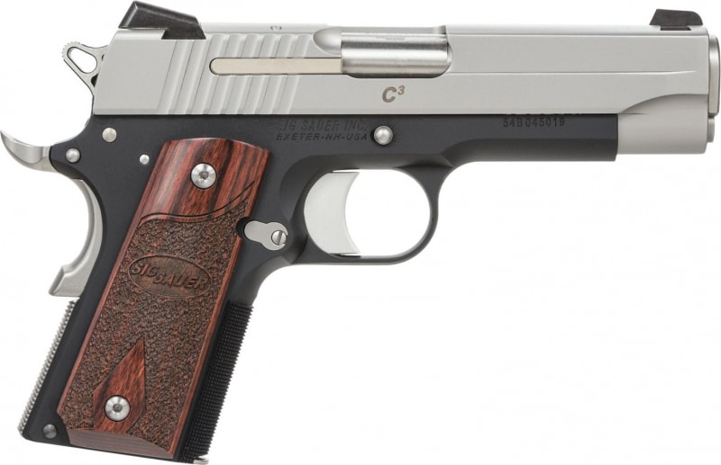 "Sig Sauer 1911CO45TC3 1911 C3 45 ACP 4.2"" 7+1 Rosewood Grips Black Frame SS Slide"