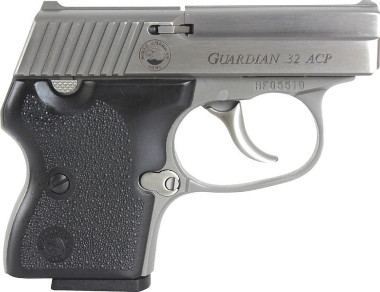 """NAA GUARDiamondbackN 32 Guardian 32 ACP 2.19"""" 6+1 Black Hard Rubber Grip SS"""