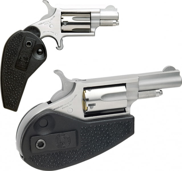 """NAA HGMS 22 Magnum Holster Grip Single 22 WMR 1.125"""" 5 Black Synthetic Folding Holster Grip Stainless Steel"""