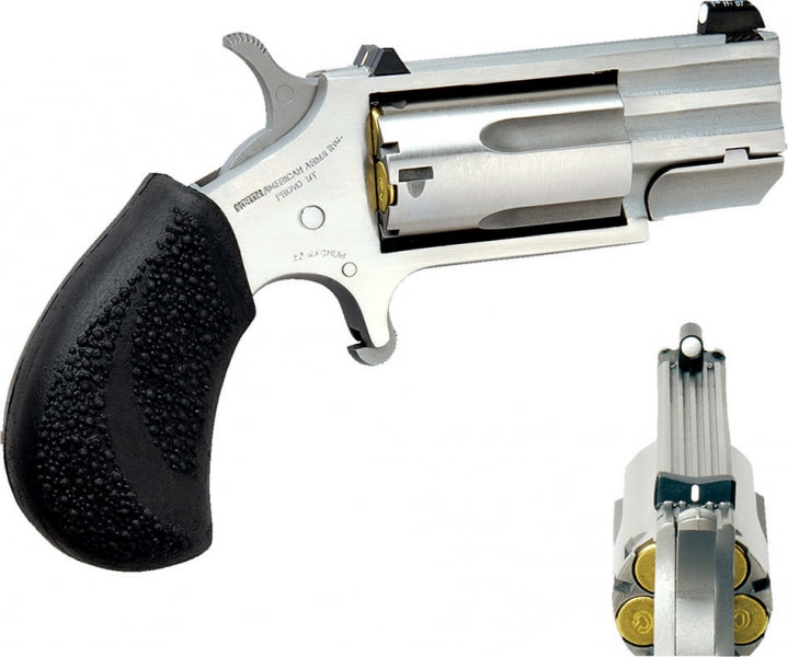 "NAA PUGD Magnum Pug Single 22 WMR 1"" 5 Black Rubber Stainless"