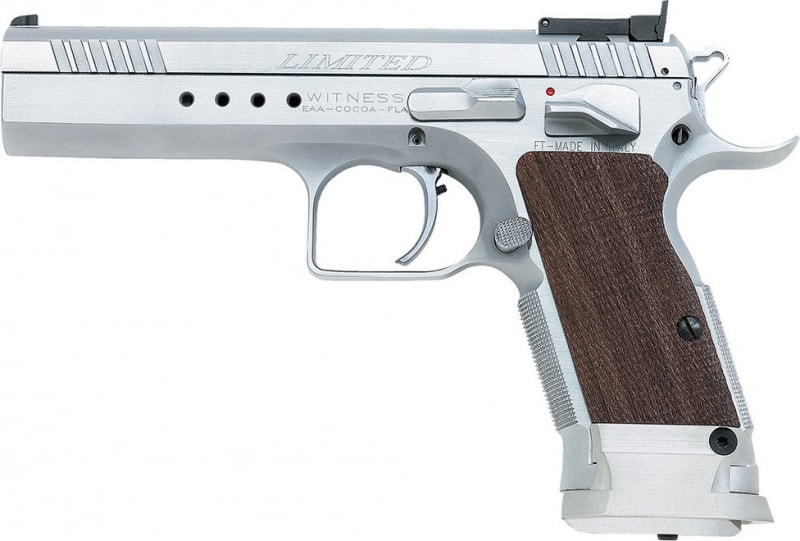 "EAA 600320 Witness Elite Limited 40 S&W 4.75"" 15+1 Wood Grip Chrome Finish"