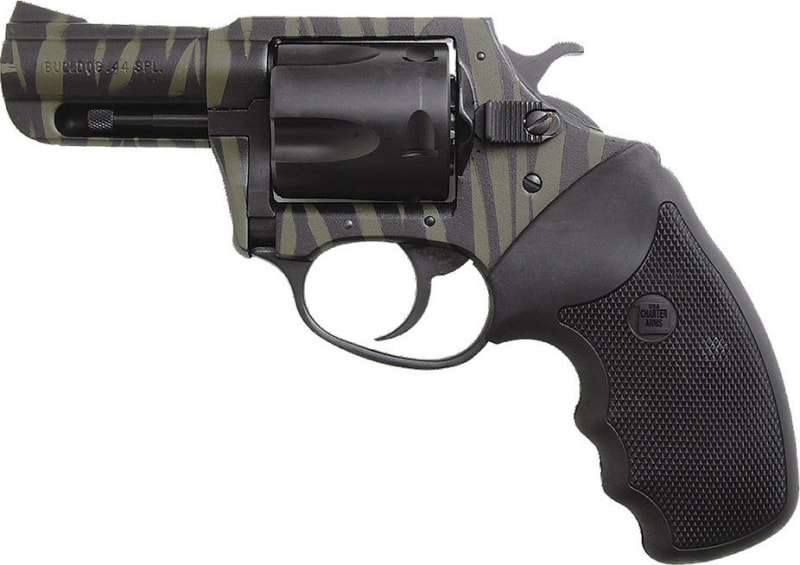 "Charter Arms 24420 Bulldog 44 Special 2.5"" 5rd Black Rbber Grip Black/Green Tiger SS"