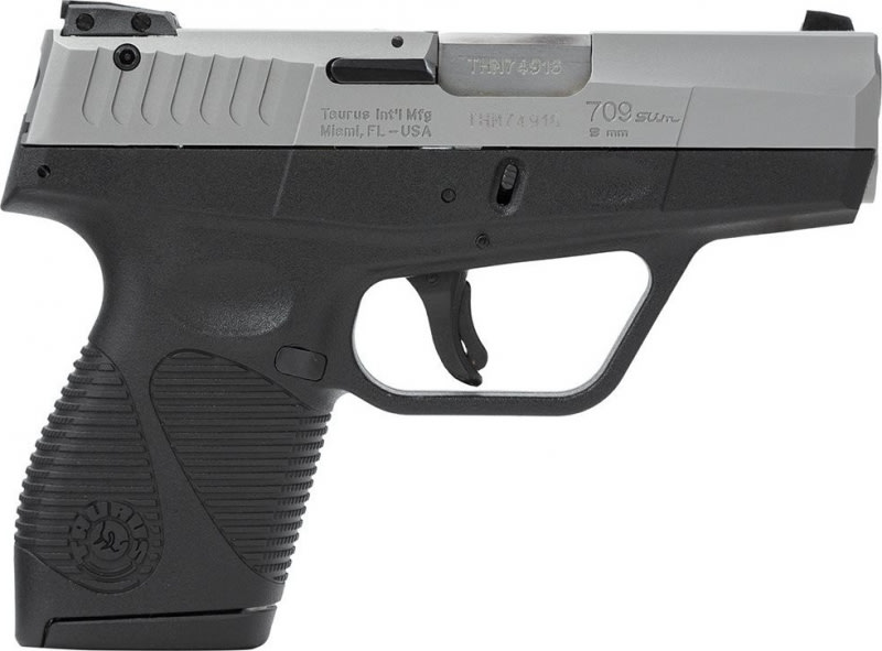 Taurus Model 709FS Slim 9mm Semi-Auto Pistol, 3.2 Inch Barrel, Stainless Finish 7 Round W / 1 Magazine