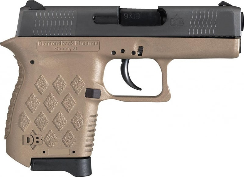 "Diamondback DB9FDE Micro-Compact DAO 9mm 3"" 6+1 FDE Poly Grip/Frame Black Slide"