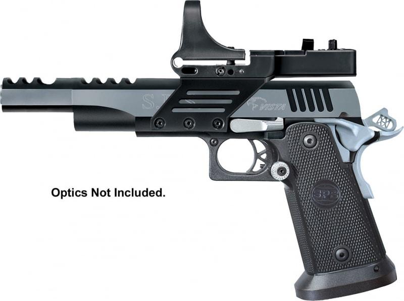 "SPS SPVS9BC Vista Short SAO 9mm 5"" TB 21+1 Scope Mount Black Poly Grip Black Frame Black/Chrome Slide"