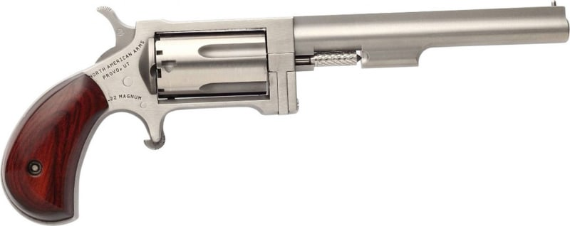 """NAA NAASWC4 22 Magnum Sidewinder with 22LR Cylinder Single 22 WMR 4"""" 5 Rosewood Stainless"""