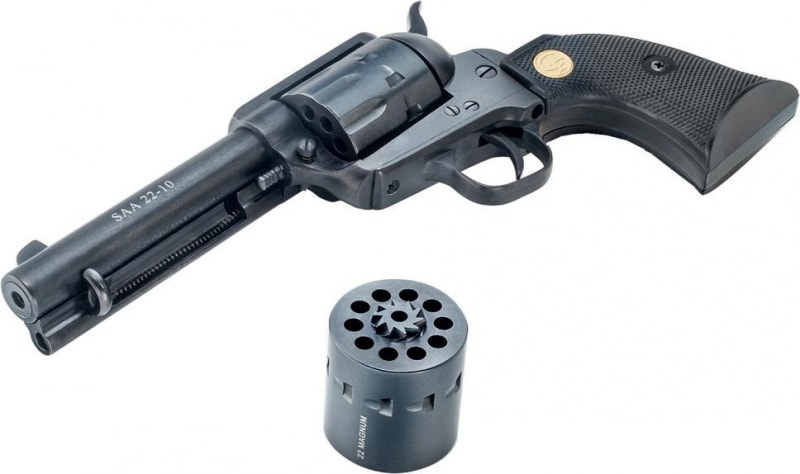"""Chiappa CF340.155D 1873 Single Action Army 22LR/22 Magnum Single 22 LR 4.75"""" 10 Black Synthetic Black"""