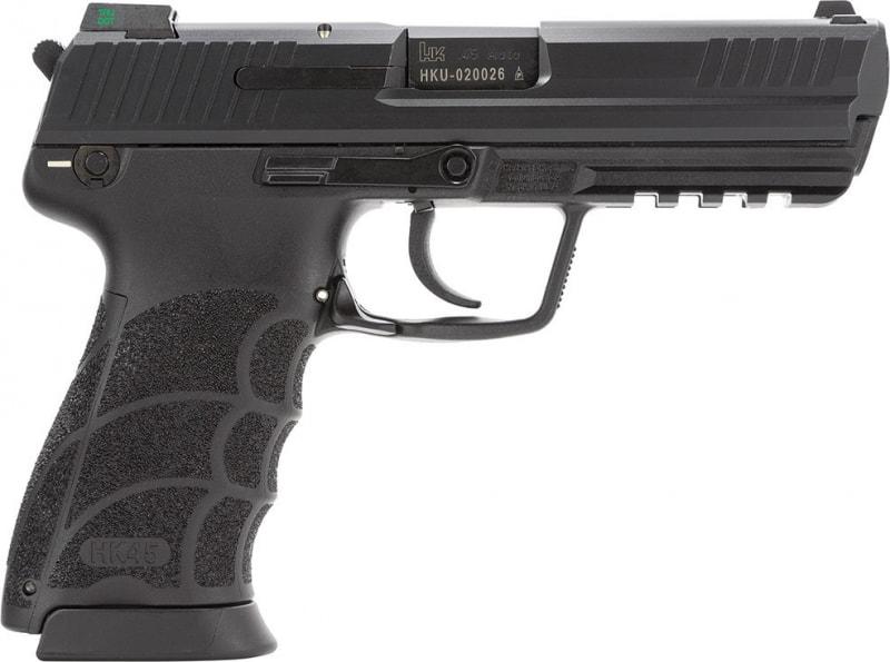 """HK 745001LEA5 HK45 V1 3Mags DA/SA 45 ACP 4.5"""" 10+1 Interchangeable Grips Black"""