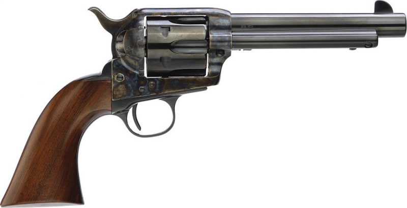"""Taylors 5001DE 1873 Gunfighter Deluxe 45 LC 5.5"""" 6 Wood Grip Blued"""