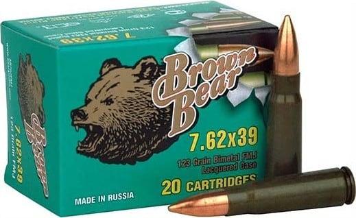 Barnaul Brown Bear 762X39, FMJ,123 Grain, Non-Corrosive -   500 Round Case Mfg # AB762FMJ