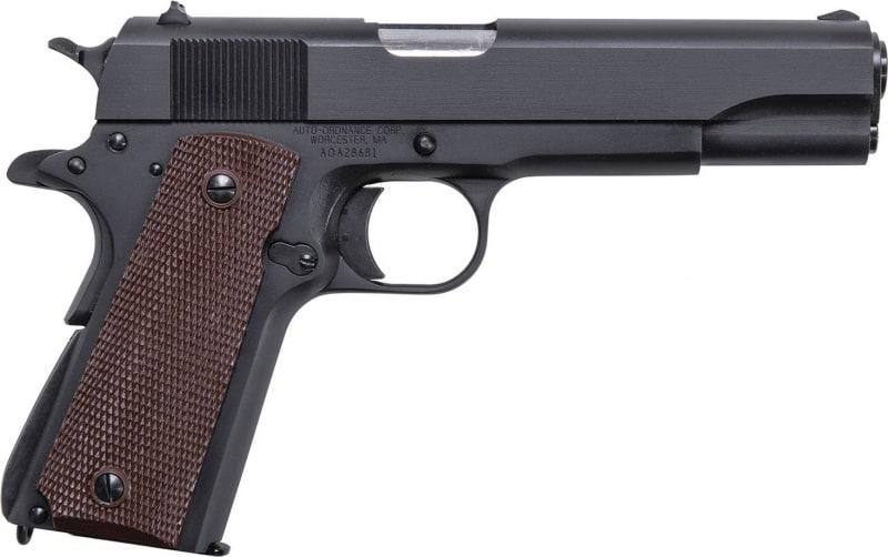 "Thompson 1911BKO 1911 Matte Black Single 45 ACP 5.0"" 7+1 Brown Checkered Grip Black"